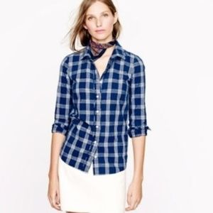 J. Crew Boy Button Down Shirt in Blue Indigo Plaid